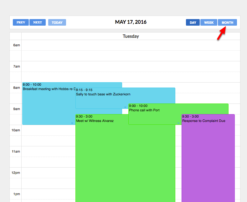 "4.  To see all your events, click on ""Month"" view."