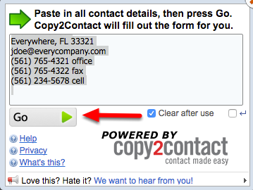 3. Click Copy2Contact, and then Copy/Paste info -or- Drag-and-Drop data into Copy2Contact. Click Go >.