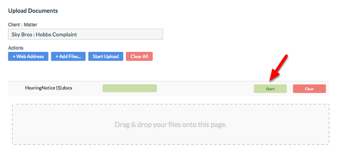 "5.  Click ""Start"" to begin the upload process."