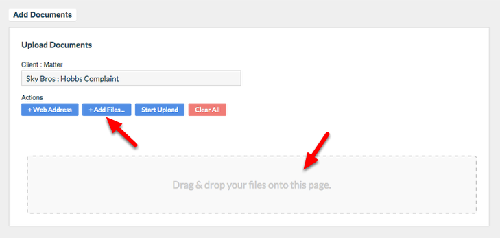 """4. Select """"+ Add Files"""" to select a file from your computer, or 'Drag & drop' your file onto the page."""
