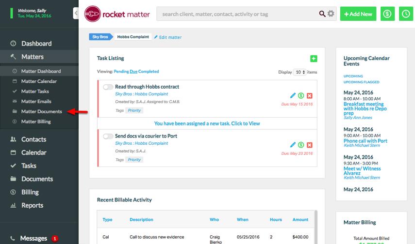 "2. Click ""Matter Documents""."