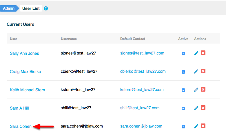 6. View your 'Current Users' list to confirm that your New User is active.