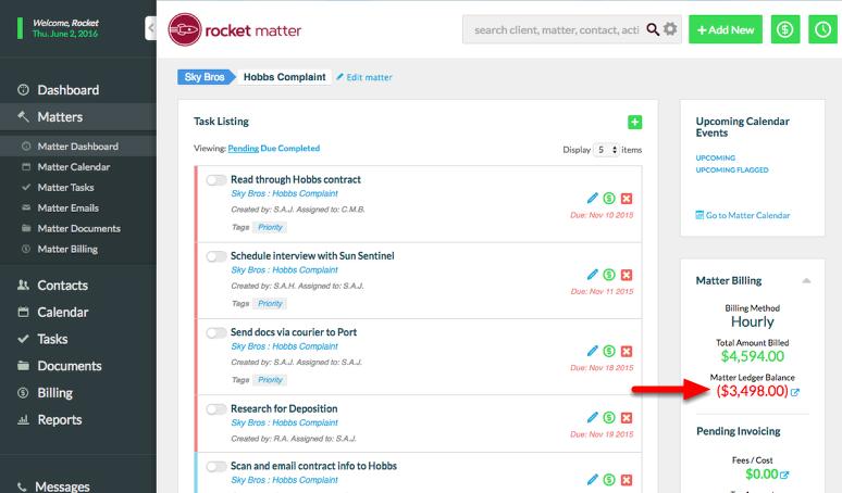 a. Navigate to a Matter, and click 'Matter Ledger Balance'.