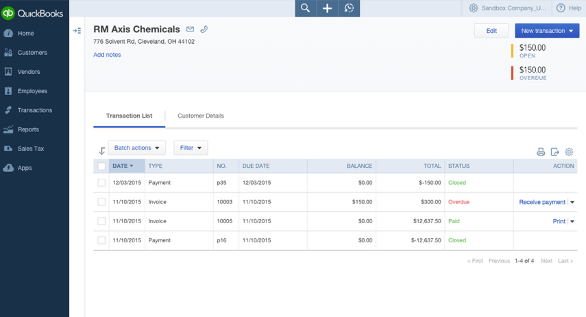 b. View Customer Transaction List which includes Invoices and Payments.