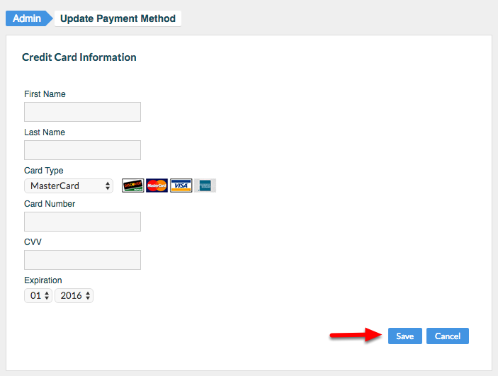 """3. Enter updated Credit Card Information, and click """"Save""""."""
