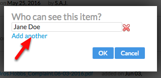 """3. Click """"Add another"""", and enter the Client's name in the 'Who can see this item?' field."""