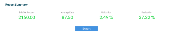 F. Report Summary give you totals for Billable Amount, Average Billing Rate, Utilization and Realization percentages.