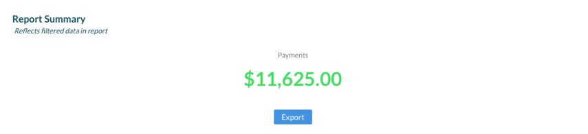 5. Report Summary displays Total Payments for date range specified.