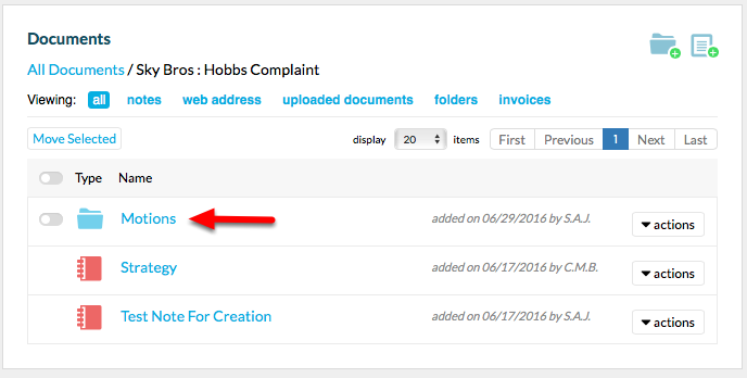 5. Folder will now appear in Matter Documents section.