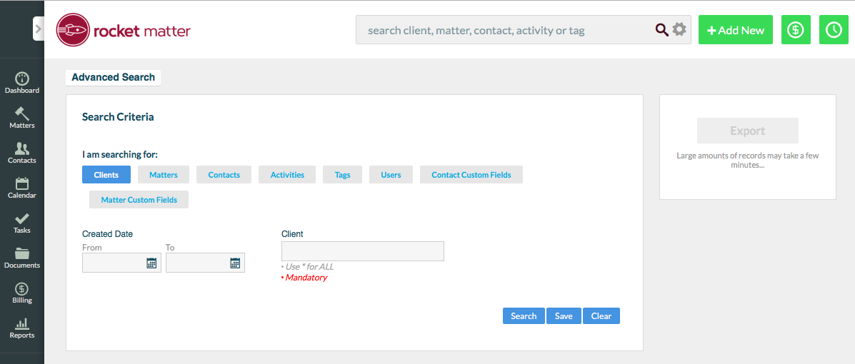 2. Select Tab for desired search topic.