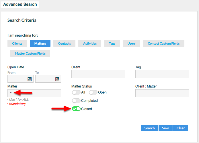 "3c.  Type  Matter:  * , and select Matter Status: ""Closed"".  Then click ""Search""."