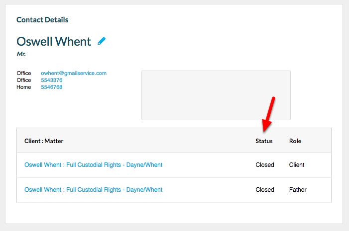 2b. View the Status for the Contact's 'Client: Matter' list.