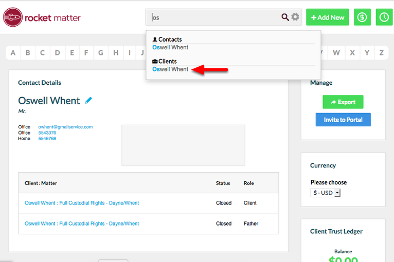 2a.  Navigate to the Client's contact record.  For quick access use the Global Search.