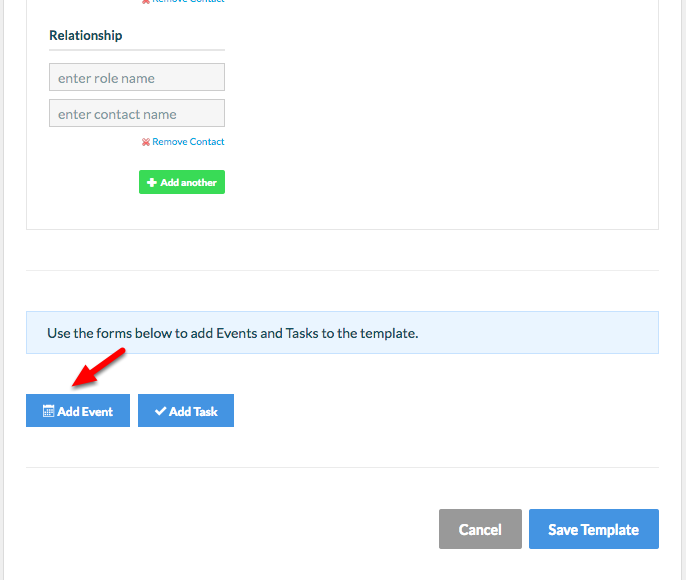 """8. Select """"Add Event"""" to add an Event to your Matter Template workflow."""