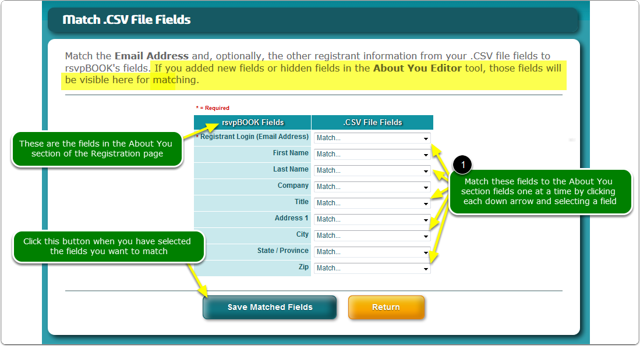 Match the .CSV file fields to the About You fields