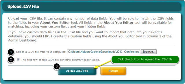 """If you selected """"I would like to upload a .CSV file of contacts"""" in the previous step ..."""