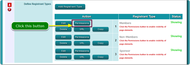 Method 1: Open the Permissions screen for each Registrant Type