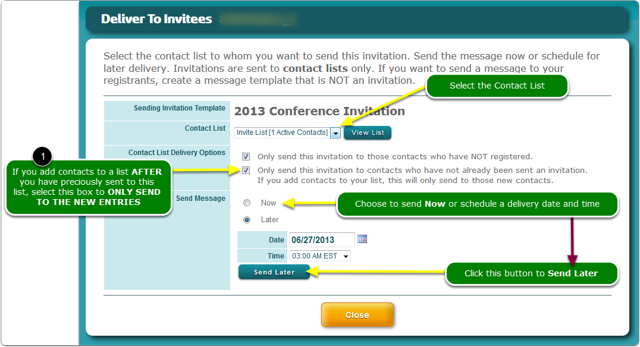 Select the Contact List to which you want to send this Invitation