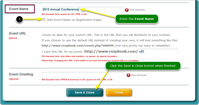 Type your Event Name into the field
