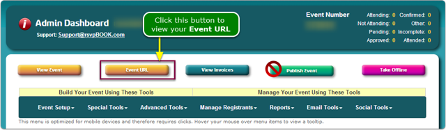 If Menus, then click the Event URL button.