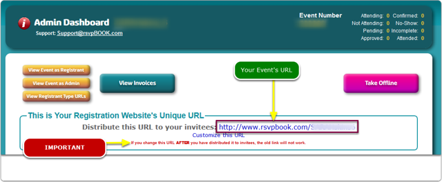 If Buttons, then the Event URL is displayed prominently near the top of your event's Admin Dashboard