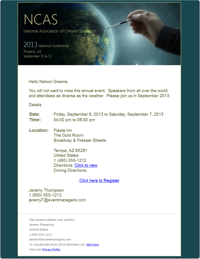 The Invitation Email Message