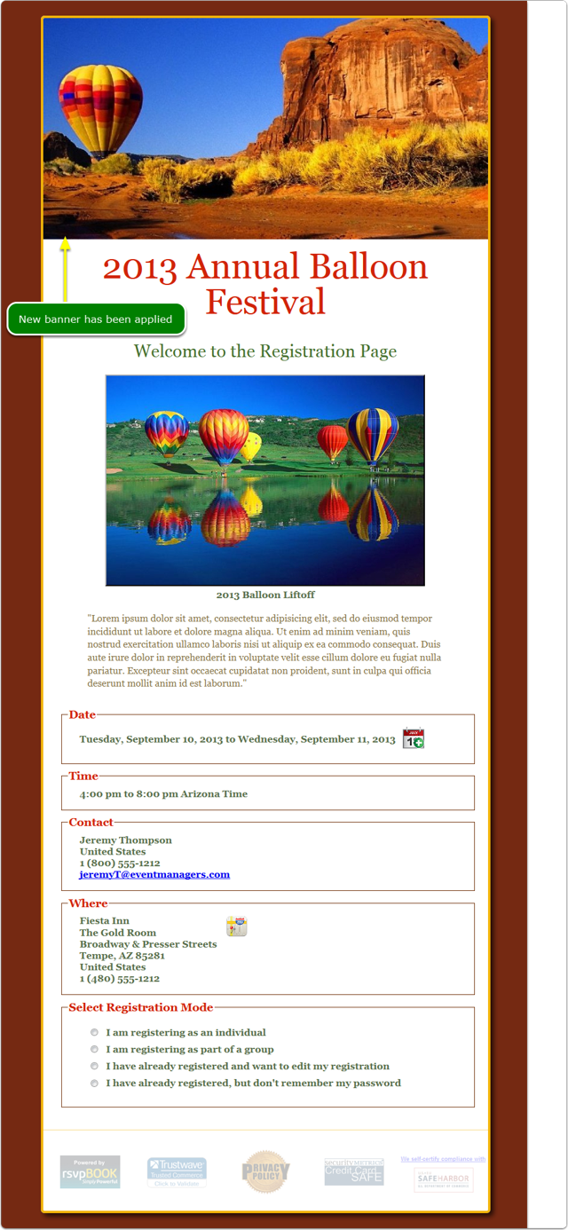 Preview your registration page to verify your new banner was applied