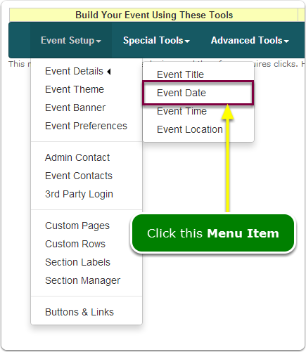 If Menus, your Event Date tool is located here ...
