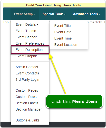 If Menus, your Event Description tool is located here ...