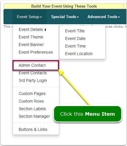 If Menus, your Admin Contact tool is located here ...