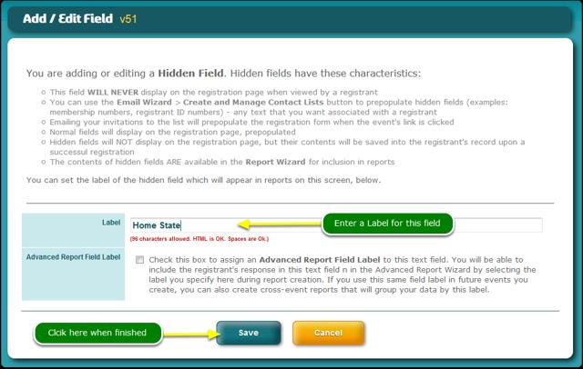 The Hidden Field Add / Edit screen opens