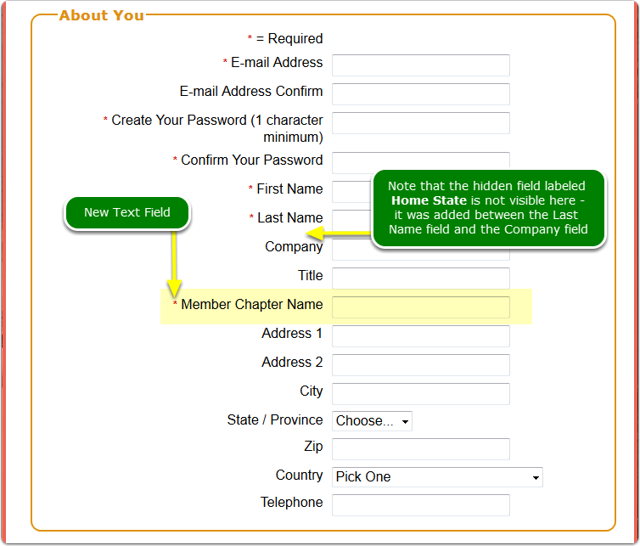 Verify one New Text Field on the registration page