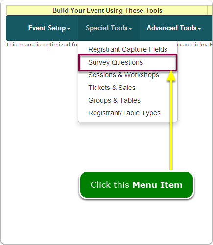 If Menus, your Survey Questions tool is located here ...