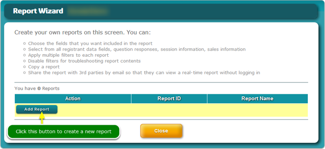 The Report Wizard screen opens ...