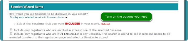 3. Display each selected session in its own column
