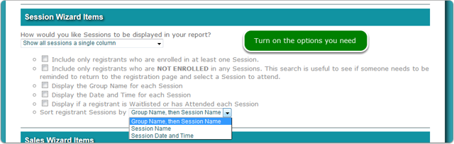 1. Show all sessions in a single column