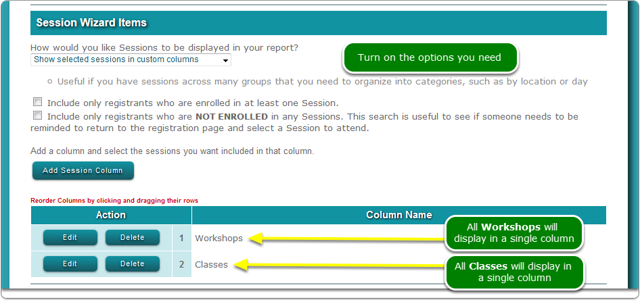 2a.  Show selected sessions in custom columns