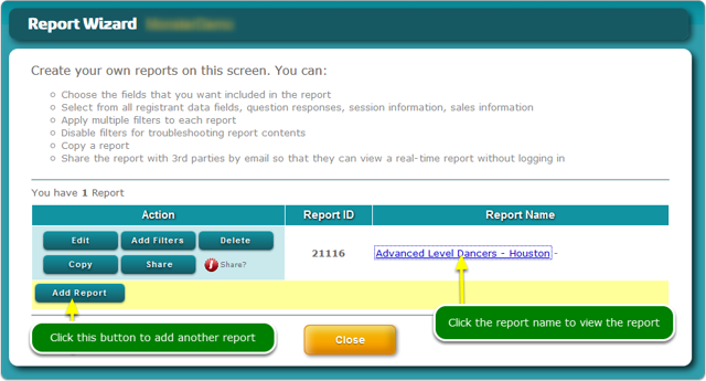 The Report Wizard displays your new report along with Action buttons