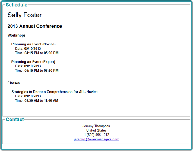 Session Itineraries Example (on-screen version)