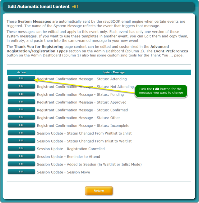 Select the Email Confirmation message template