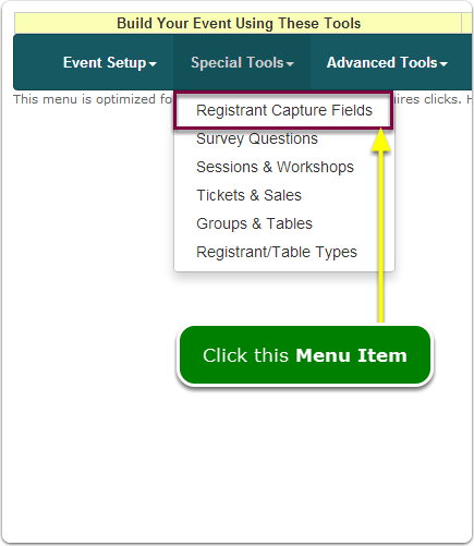 If Menus, your Registrant Information Capture tool is located here ...