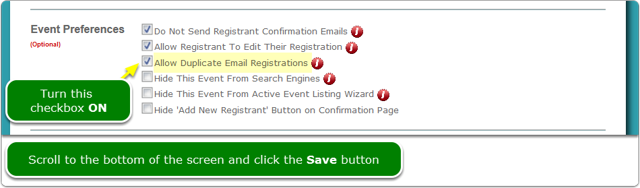 """Turn on the """"Allow Duplicate ..."""" checkbox"""