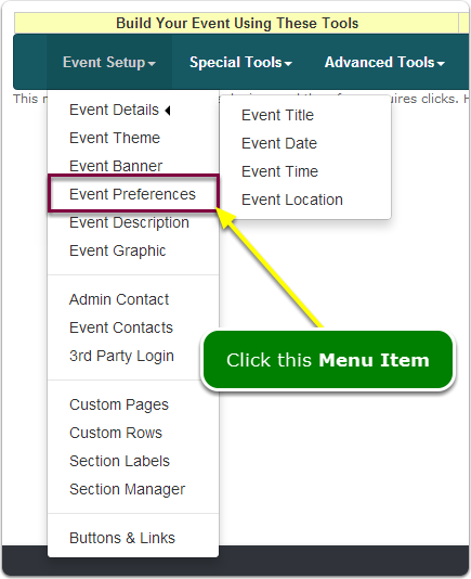 If Menus, your Event Preferences tool is located here ...