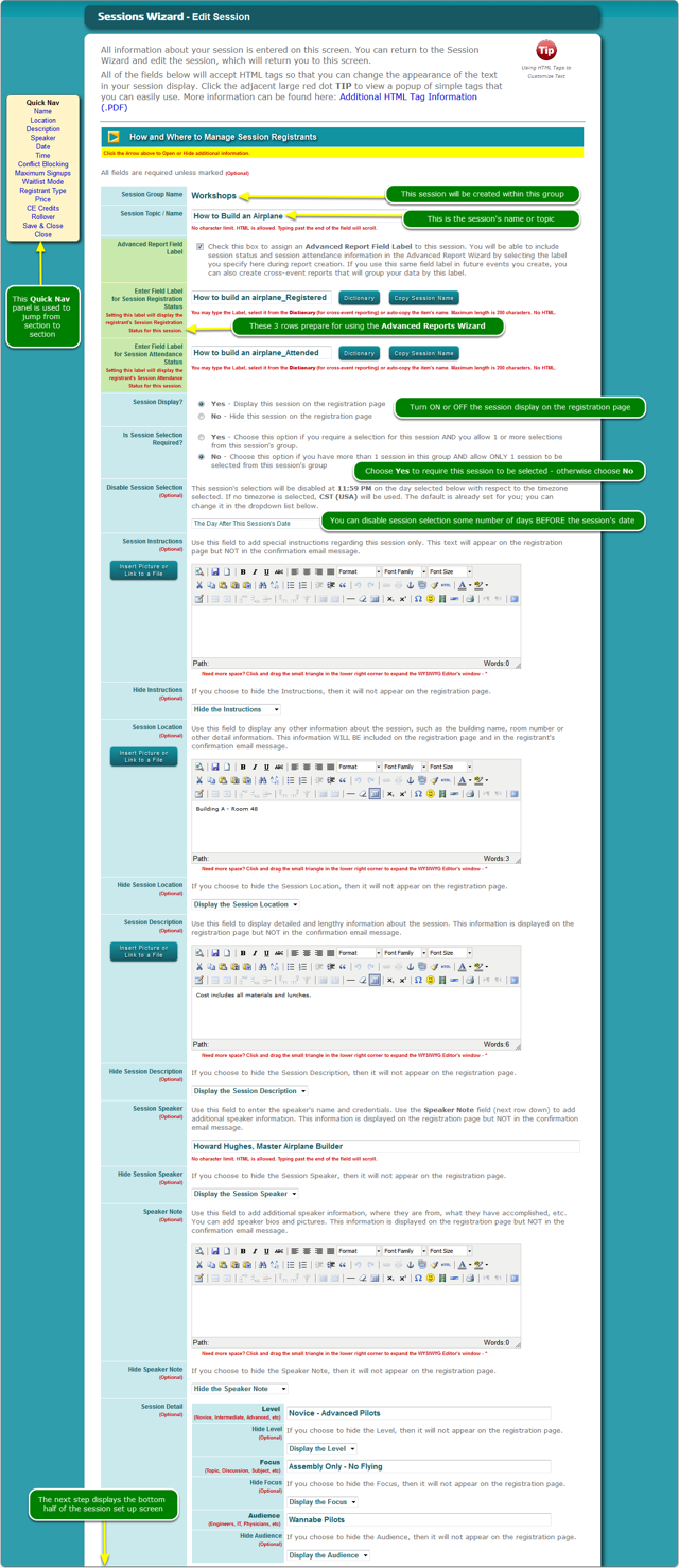 The Add/Edit Session screen - Top half