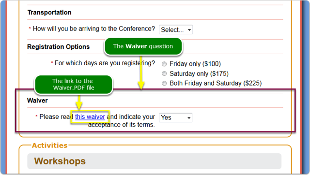 And what does this look like on the registration page?