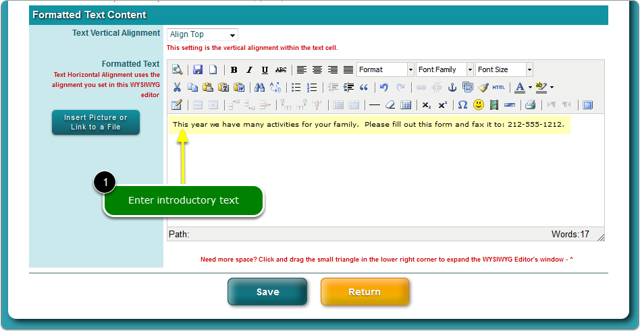 Open the WYSIWYG editor that will contain your link