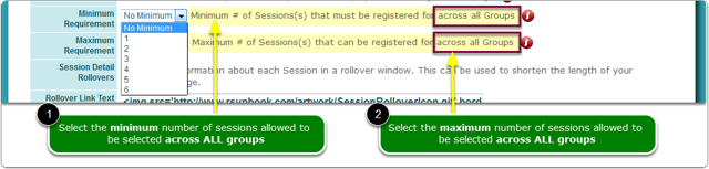 Set a maximum or minimum number of session selections ACROSS ALL GROUPS?