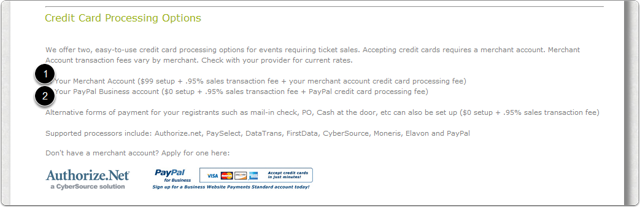 You can accept payment by credit card and/or use an alternative payment method, such as Mail-in Check