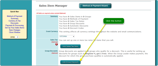 Click the Add Group Discount button