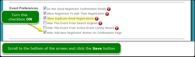 Turn on the Hide 'Add New Registrant' checkbox